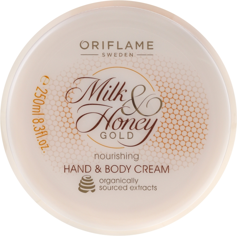 "Cremă hidratantă pentru mâini și corp ""Lapte si miere"" - Oriflame Milk and Honey Gold Nourishing Hand and Body Cream — Imagine N1"