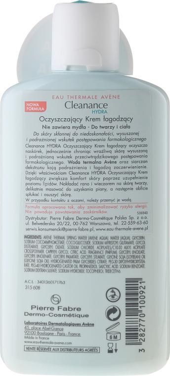 Cremă de față - Avene Cleanance Hydra Soothing Cleansing Cream — Imagine N2