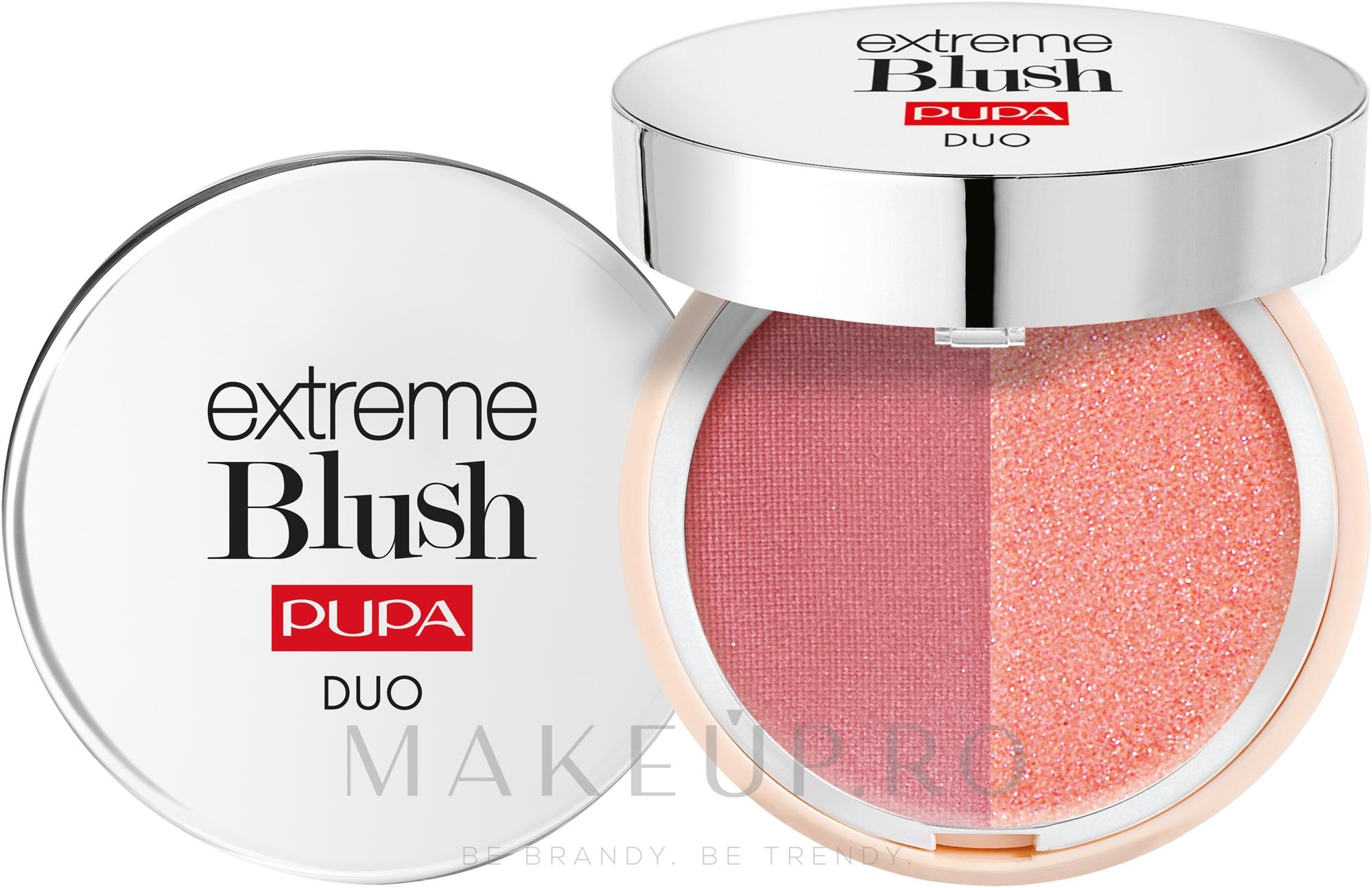 Fard de obraz dublu compact - Pupa Extreme Blush Duo — Imagine 110 - Radiant Amarant Glow Watermelon