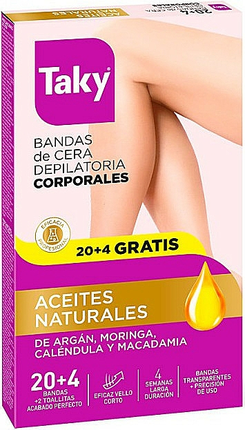 Benzi depilatoare cu uleiuri naturale - Taky Natural Oils Depilatory Body Wax Strips — Imagine N1