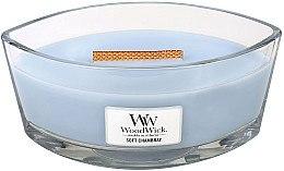 Lumânare parfumată în suport de sticlă - WoodWick Hearthwick Flame Ellipse Candle Soft Chambray — Imagine N1