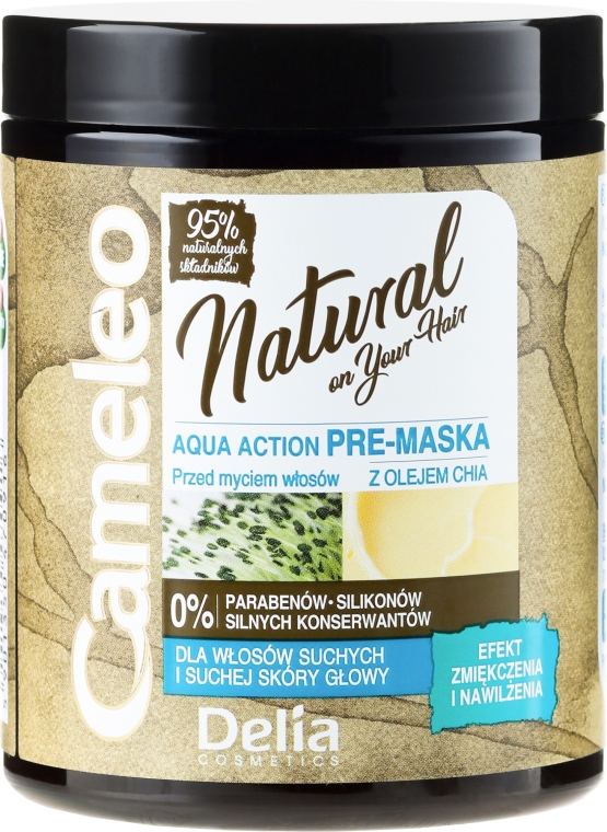 Masca de păr cu ulei de chia - Delia Cameleo Natural Aqua Action Pre-Mask