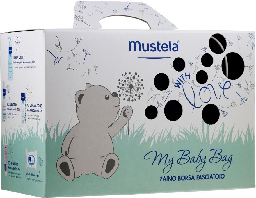 Set - Mustela My Baby Bag Set (water/300ml + gel/shm/200ml + f/cr/40ml + b/cr/50ml + wipes/25pcs + bag)
