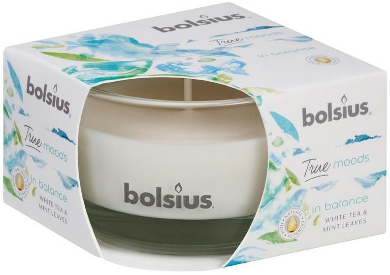 """Lumânare aromată în suport de sticlă """"Ceai alb și frunze de mentă"""", 50/80 mm - Bolsius True Moods Candle"""