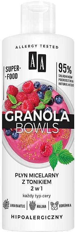 Apă tonică micelară pentru toate tipurile de piele - AA Granola Bowls Micellar Water And Tonic 2 in 1 — Imagine N1