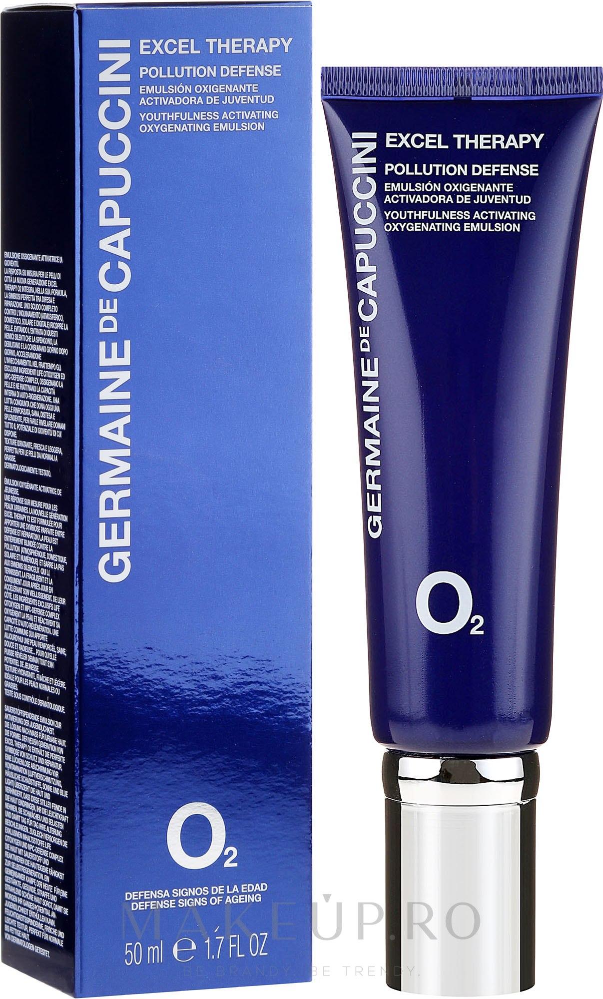 Emulsie saturată cu oxigen pentru față - Germaine de Capuccini Excel Therapy O2 Pollution Defense Emulsion — Imagine 50 ml