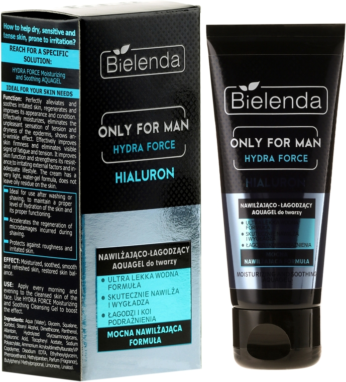 Gel hidratant pentru ten - Bielenda Only For Man Hydra Force Hialuron Face AquaGel — Imagine N1