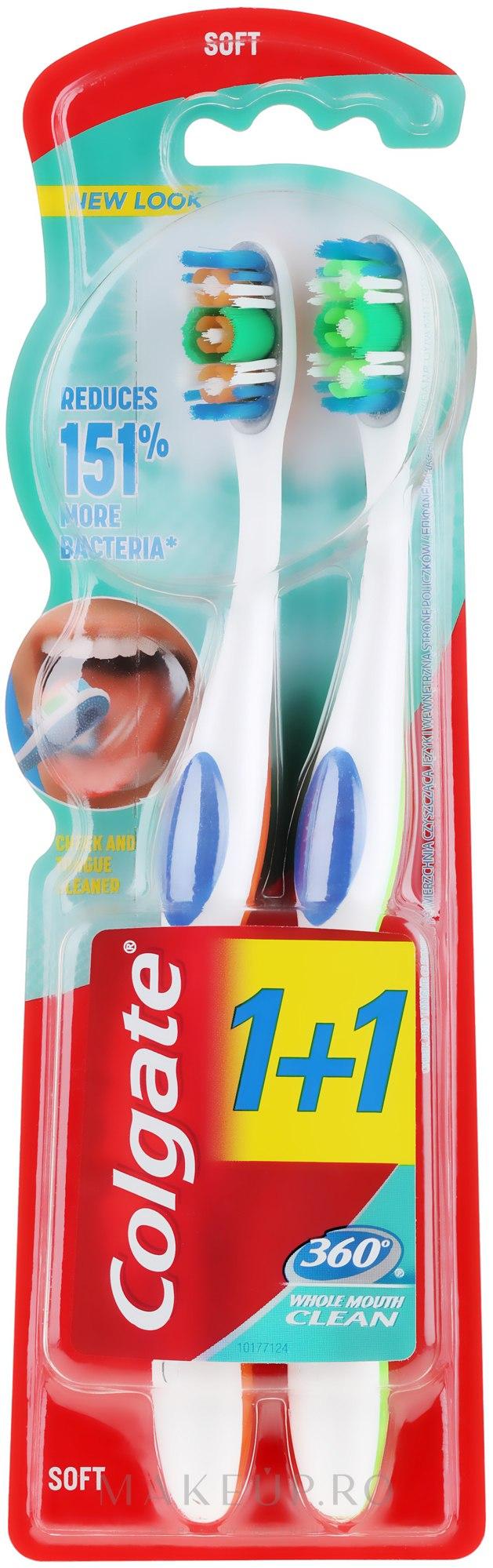 Periuță de dinți - Colgate 360 Whole Mouth Clean Soft — Imagine 2 buc
