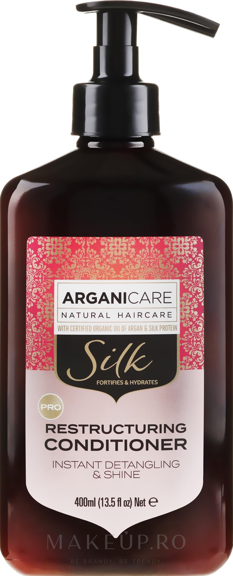 Balsam regenerant cu proteine de mătase pentru păr - Arganicare Silk Restructuring Conditioner — Imagine 400 ml