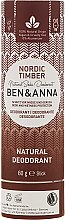 """Parfumuri și produse cosmetice Deodorant pe baza bicarbonatului de sodiu """"Pădurea de Nord"""" (carton) - Ben & Anna Natural Soda Deodorant Paper Tube Nordic Timber"""