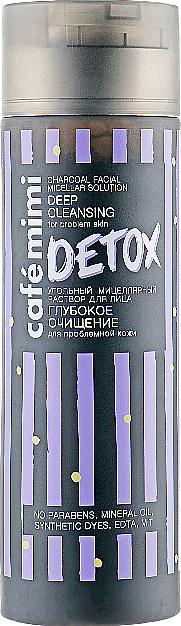 """Soluție micelară cu cărbune """"Curățare profundă"""" - Cafe Mimi Detox Charcoal Facial Micellar Solution Deep Cleansing"""
