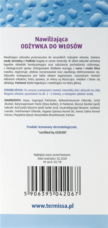 Balsam hidratant pentru păr - Termissa Conditioner — Imagine N3