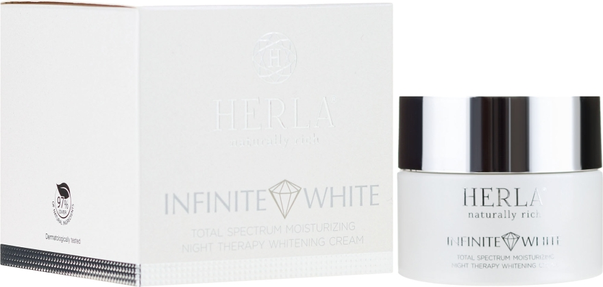 Cremă de față - Herla Infinite White Total Spectrum Moisturizing Night Therapy Whitening Cream — Imagine N1