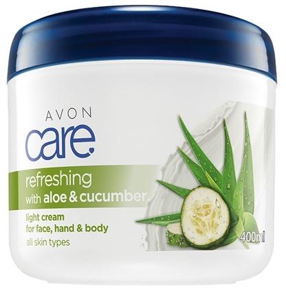 Cremă hidratantă pentru mâini, față și corp - Avon Refreshing With Aloe And Cucumber Light Cream For Face Hand And Body — Imagine N1
