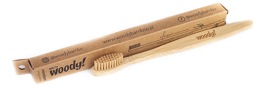 "Periuță de dinți din bambus ""Classic"" medie - WoodyBamboo Bamboo Toothbrush Classic"