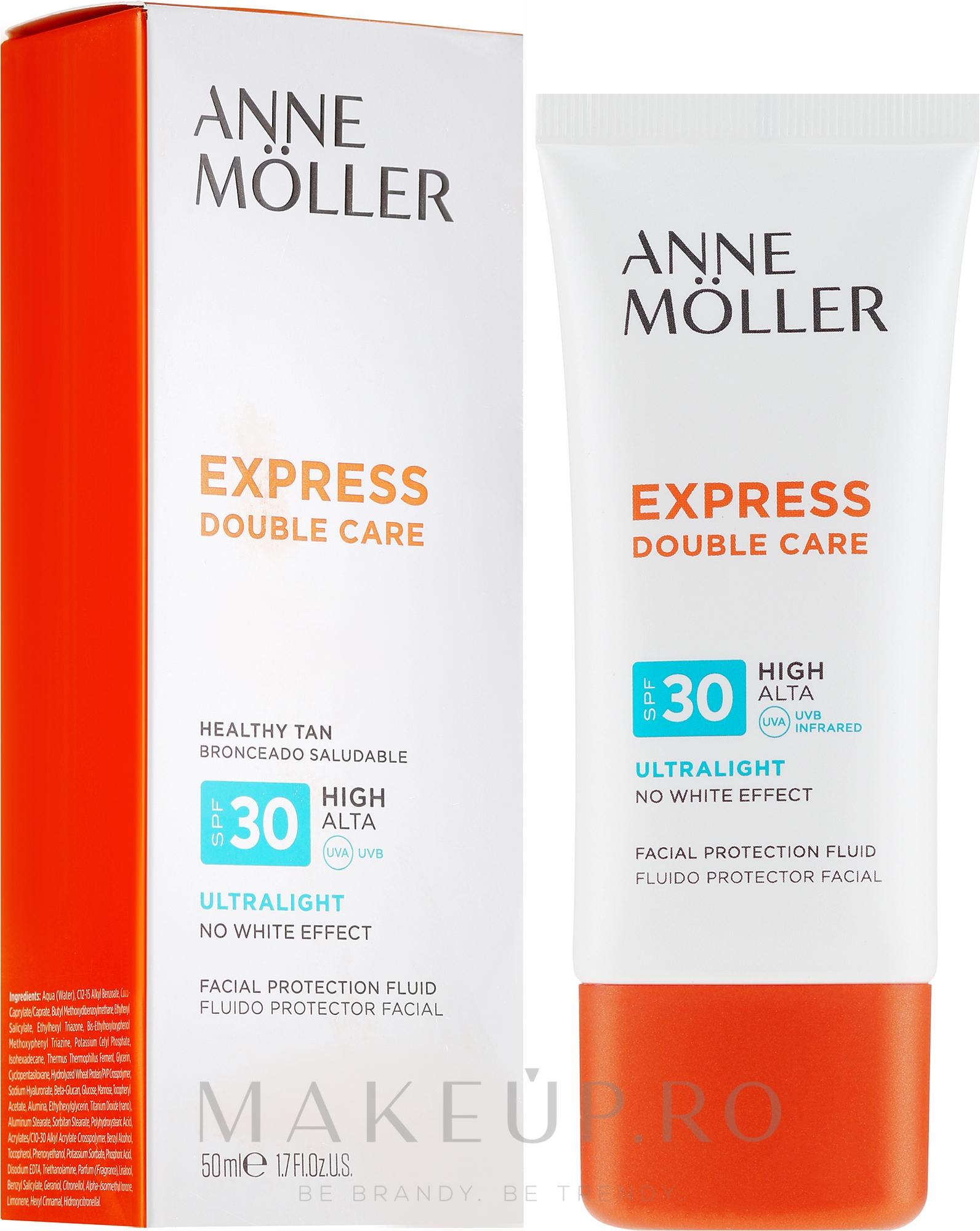 Fluid cu protecție solară pentru față - Anne Moller Double Care Ultralight Facial Protection Fluid SPF30 — Imagine 50 ml