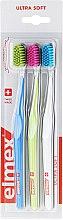 Set periuțe de dinți, ultra moi, albastru + verde + alb - Elmex Swiss Made — Imagine N1