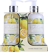 Parfumuri și produse cosmetice Set - Baylis & Harding Royale Garden Lemon & Basil (l/soap/300ml + b/lot/300ml)
