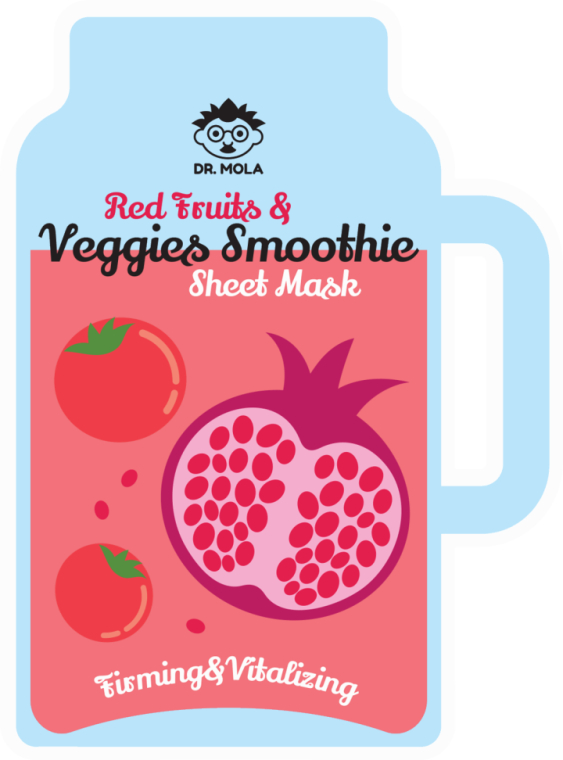 Mască de față - Dr. Mola Red Fruits & Veggies Smoothie Sheet Mask — Imagine N3