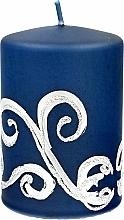Parfumuri și produse cosmetice Lumânare decorativă, albastră cu decorații, 7x10 cm - Artman Christmas Ornament