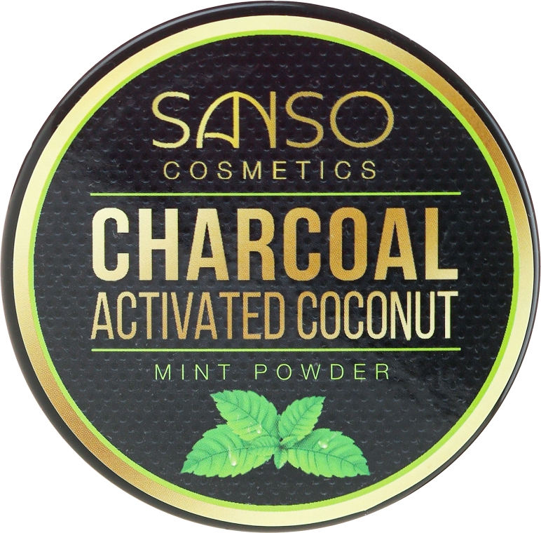 Praf pentru înălbirea dinților - Sanso Cosmetics Charcoal Activated Coconut Mint Powder