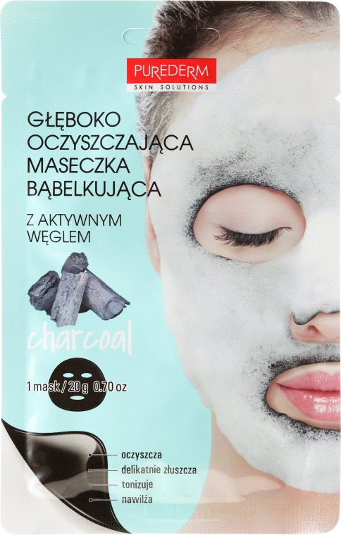 Mască de oxigen pentru față - Purederm Deep Purifying Black O2 Bubble Mask Charcoal — Imagine N1