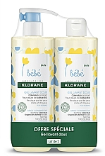 Parfumuri și produse cosmetice Set - Klorane Bebe Gentle Cleansing Gel (sh/gel/500ml + sh/gel/500ml)