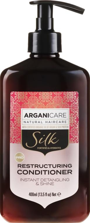 Balsam regenerant cu proteine de mătase pentru păr - Arganicare Silk Restructuring Conditioner — Imagine N1