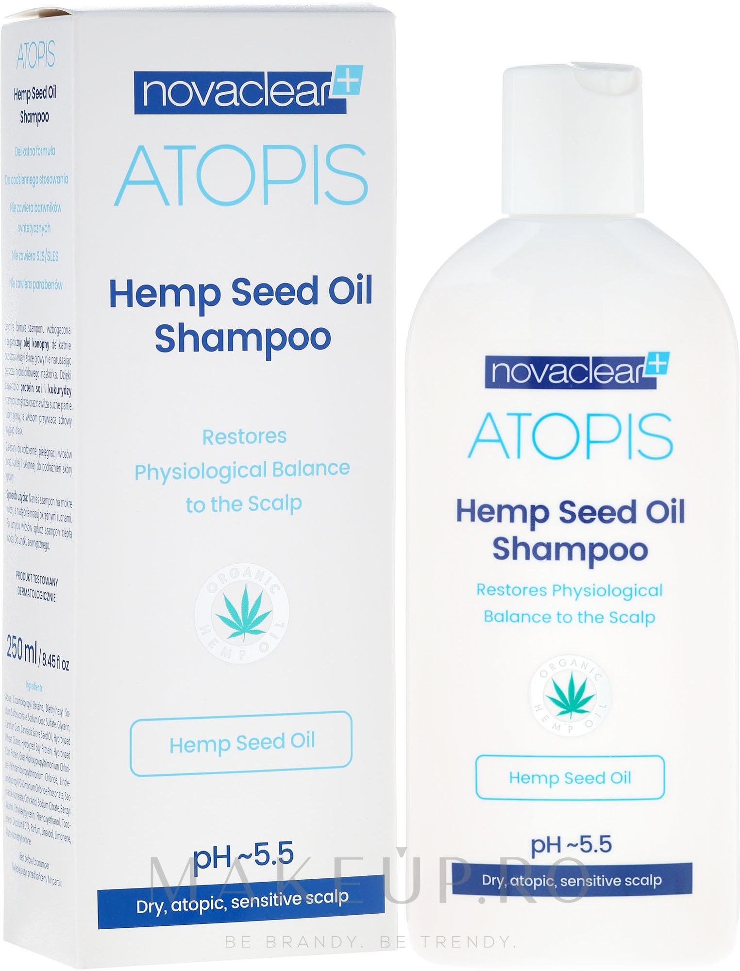 Șampon cu ulei organic de cânepă - Novaclear Atopis Hemp Seed Oil Shampoo — Imagine 250 ml