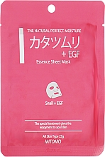 """Parfumuri și produse cosmetice Mască din țesătură pentru față """"Extract de melc + EGF"""" - Mitomo Essence Sheet Mask Snail + EGF"""