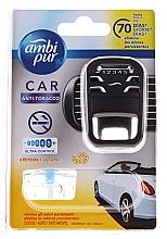 "Parfumuri și produse cosmetice Set pentru aromatizare auto ""Anti-tutun"" - Ambi Pur (freshener/1szt+refill/7ml)"