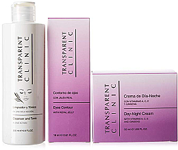 "Parfumuri și produse cosmetice Set - Transparent Clinic ""Day & Night"" (f/cleancer/200ml + eye/cream/18ml + f/cream/50ml)"