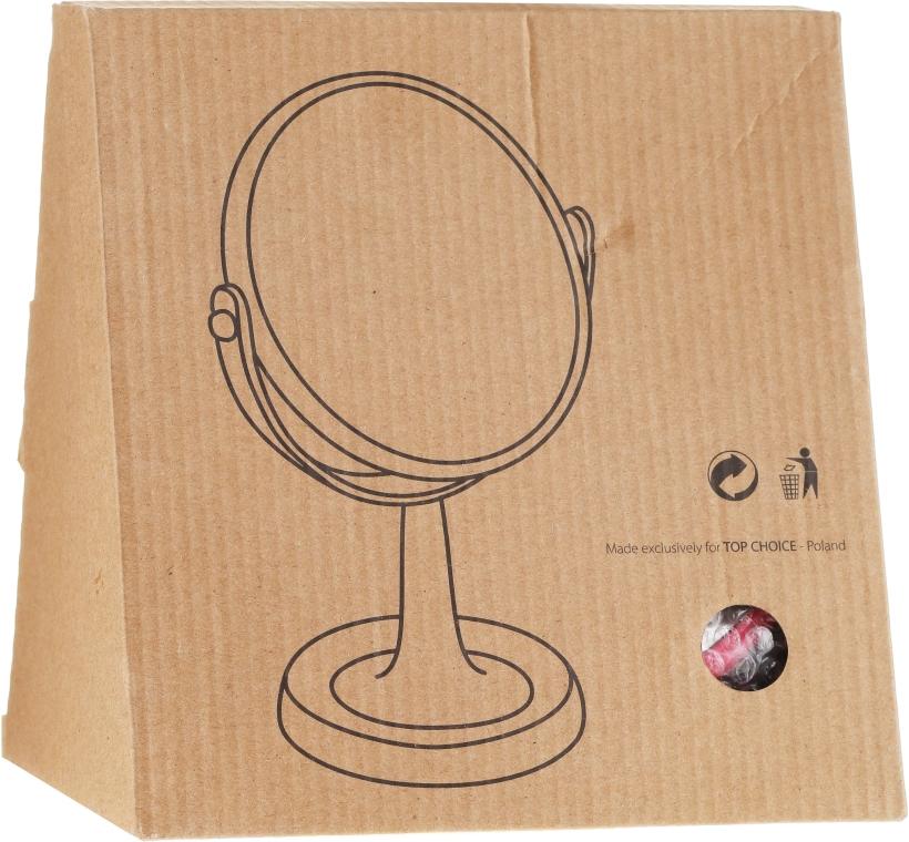 Oglindă cosmetică cu suport 85734, rotundă, 15.5 cm, roz - Top Choice Colours Mirror — Imagine N2