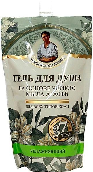 Gel de duș pe bază de săpun negru - Reţete bunicii Agafia Plante medicinale (doy-pack)