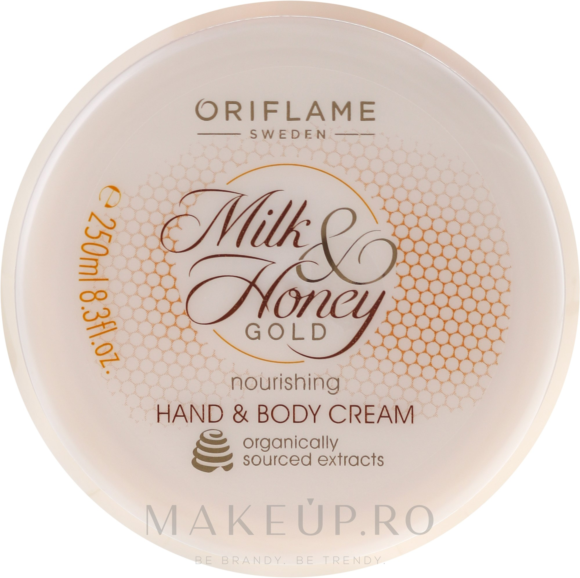 "Cremă hidratantă pentru mâini și corp ""Lapte si miere"" - Oriflame Milk and Honey Gold Nourishing Hand and Body Cream — Imagine 250 ml"
