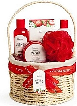 Parfumuri și produse cosmetice Set - IDC Institute Vintage Fruits (sh/g/160ml+b/lot/160ml+b/scrub/110ml+salt/100g+sponge+basket)
