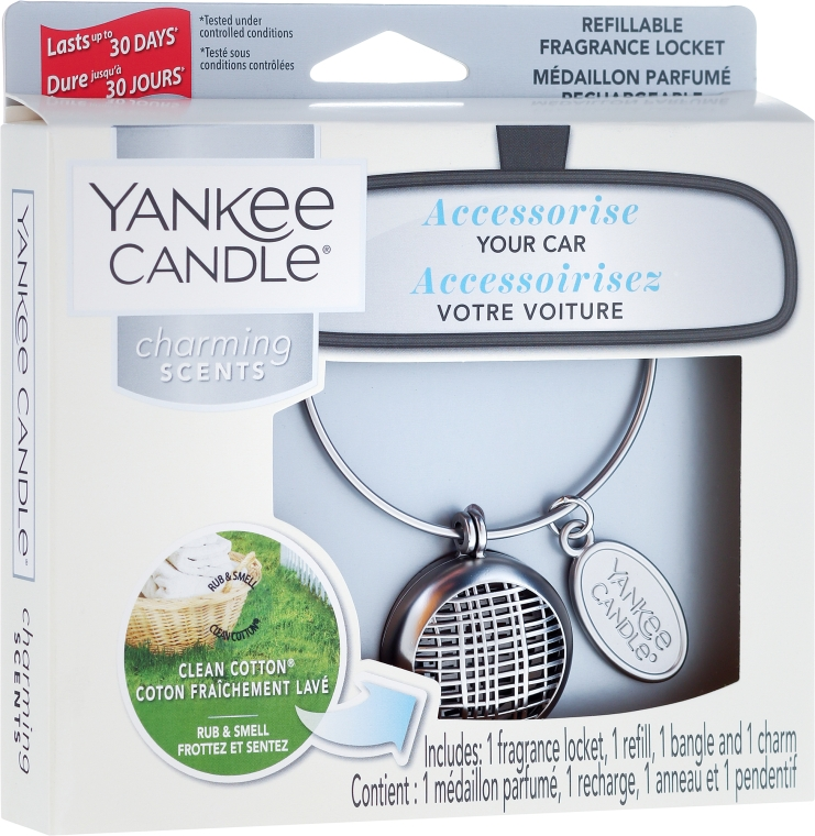 Aromatizator auto - Yankee Candle Charming Scents Linear Refillable Locket Clean Cotton — Imagine N1