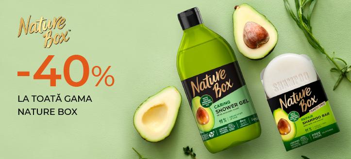 Reducere 40% la toată gama Nature Box. Prețurile pe site sunt prezentate cu reduceri