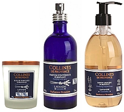 Parfumuri și produse cosmetice Set - Collines De Provence Natural Lavender (soap/300ml + candle/180g + spray/100ml)