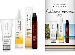 "Parfumuri și produse cosmetice Set - Transparent Clinic ""Welcome Summer"" (oil/spray/75ml + eye/cream/18ml + b/scrub/200ml)"