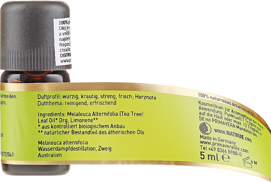 Ulei de arbore de ceai - Primavera Organic Tea Tree Oil — Imagine N2
