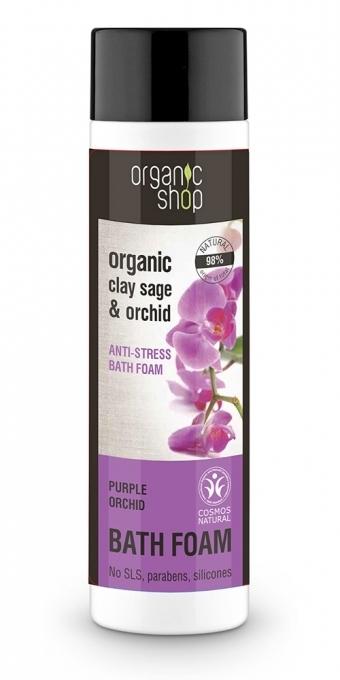 "Spumă de baie ""Relaxare: Orhideea purpurie"" - Organic Shop Organic Clay Sage and Orchid — Imagine N1"