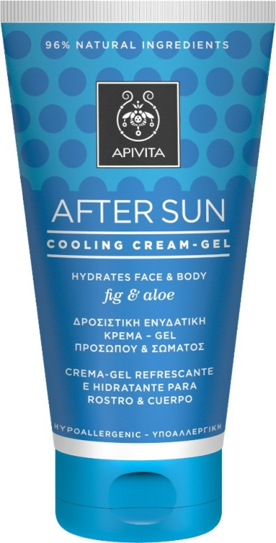 Cremă-gel revigorant și hidratant cu smochine și aloe pentru față și corp - Apivita Sunbody After Sun Cooling Cream-Gel — Imagine N1