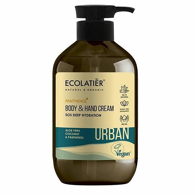 """Cremă pentru mâini și corp """"SOS Hidratare profundă. Aloe vera, nucă de cocos și pantenol"""" - Ecolatier Urban Moisturizing Body & Hand Cream — Imagine N1"""