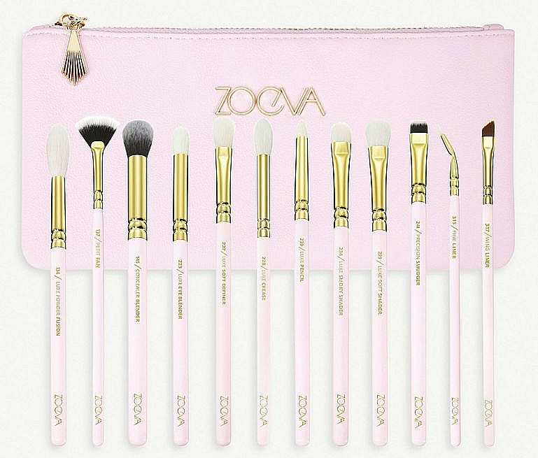 Set pensule pentru machiaj - Zoeva Screen Queen Complete Eye Brush Set (12 brushes + clutch) — Imagine N1