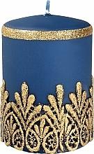 Parfumuri și produse cosmetice Lumânare decorativă, dantelă, albastră, 7x10 cm - Artman Lace Christmas