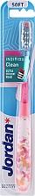 Parfumuri și produse cosmetice Periuță de dinți, moale, cu capac de protecție, roz cu fluturi - Jordan Individual Clean Soft