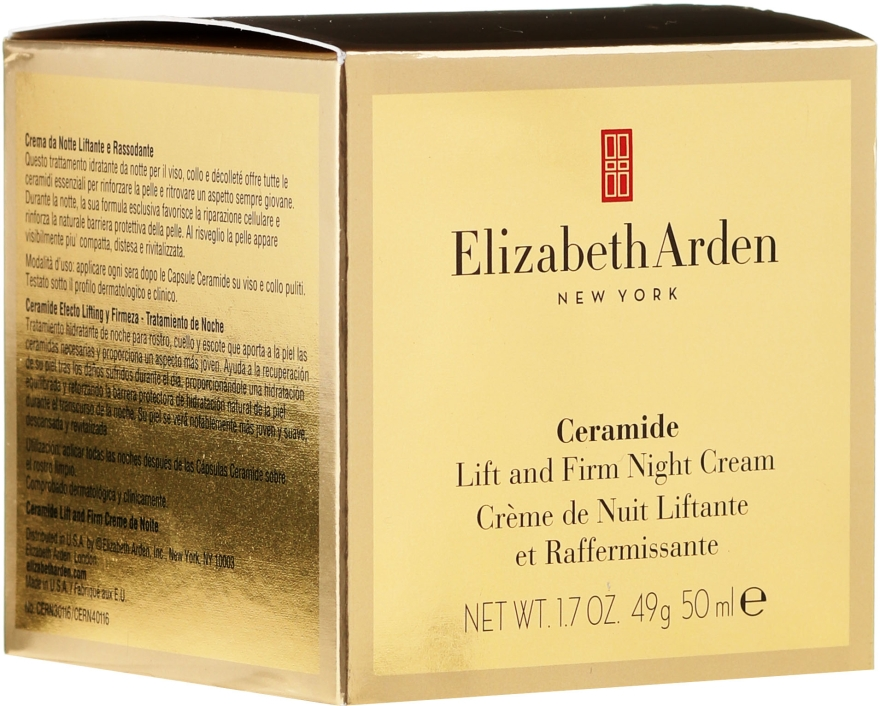 Cremă de noapte pentru față și gât - Elizabeth Arden Ceramide Plump Perfect Ultra All Night Repair and Moisture Cream for Face and Throat — Imagine N1