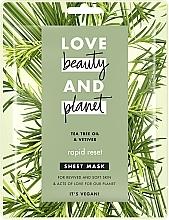 """Parfumuri și produse cosmetice Mască din țesut """"Repornire rapidă"""" - Love Beauty&Planet Tea Tree & Vetiver Sheet Mask"""