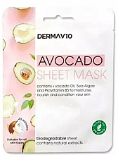 Parfumuri și produse cosmetice Mască din țesătură pentru față - Derma V10 Avocado Sheet Mask